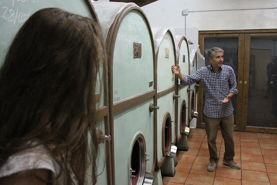 Podere Fedespina. visita in cantina: botti di cemento per la fermentazione